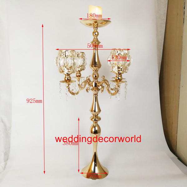 new style gold crystal 5-arms Plated wedding crystal candelabra wholesale decor755