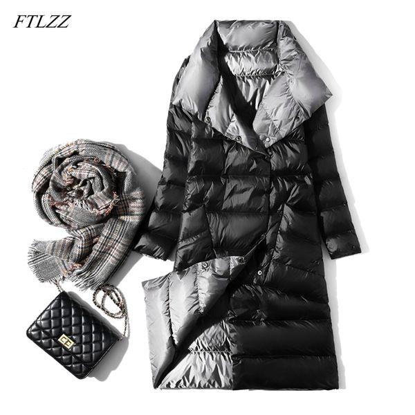Chaqueta de plumón ultraligera FTLZZ Mujer Abrigo de plumón de pato blanco delgado de doble cara de invierno Cuello alto de un solo pecho Parkas cálidas