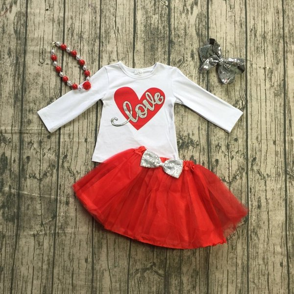 new arrivals Valentine's day baby girls children cotton boutique clothes love heart red bubble tutu skirt match bow &necklace