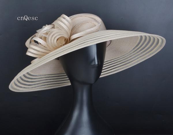 Balo için 2019 X Large LT bej Bayanlar resmi elbise şapka PP Straw güneş şapkası yaz şapka Races kentucky derby mother'day