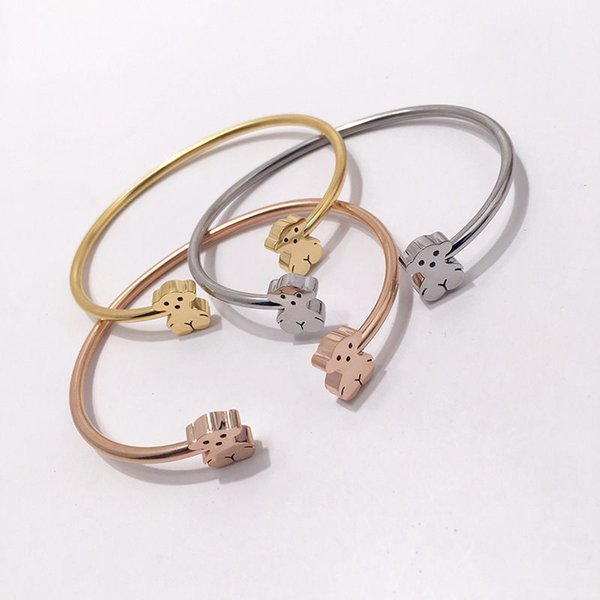 Luxury Cartoon Bears Bangles Women Hiphop Slim Rigid Bracelets Fashion Design Animals Bracelet Fine Jewelry Party Gifts