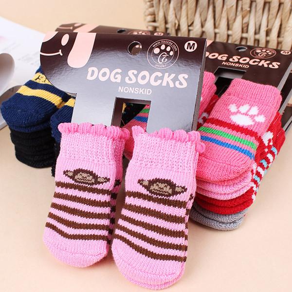 Pet Dog Socks inverno quente Bonito Filhote de Cachorro Cães de Algodão Macio Anti-slip Malha Tecer Meia Skid Inferior Meia Cão Vestuário Livre DHL WX9-1262