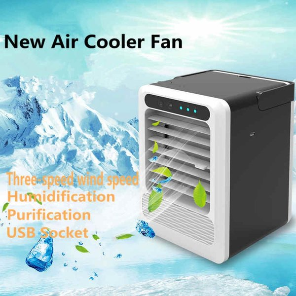 Convenient Air Cooler Fan Portable Digital Air Conditioner Humidifier Space Easy Cool Purifies Air Cooling Fan for Home Office Car HHA79