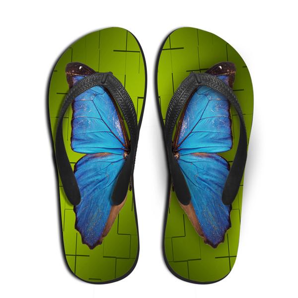 Maßgeschneiderte Frauen Sommer Gummi Flip Flops 3D Schmetterling Gedruckt Strand Hausschuhe für Damenmode Weibliche Rutschfeste Flache Sandalen