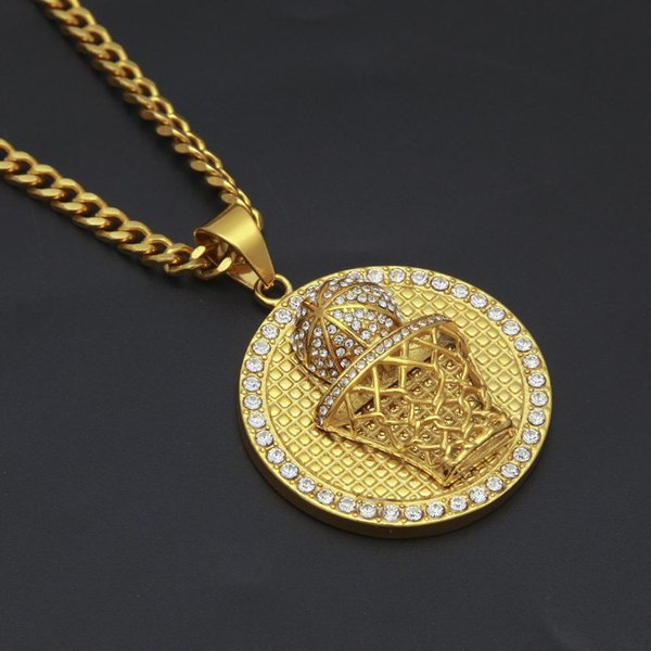 Hip Hop Bling Diamond Mens Gold Basketball & Rim Pendant Chain Necklace Round Army Dog Tag Jewelry for Guys Sports Fans Wholesale for Sale
