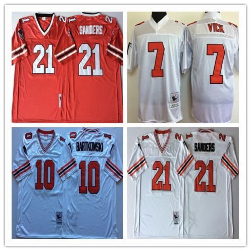 NCAA Herren Atlanta Falcons Rot Weiß 10 Steve BARTKOWSKI 21 Deion Sanders 7 Michael Vick Trikots