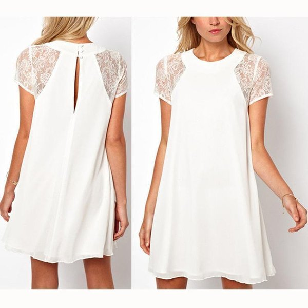 Nice Summer Spring Women Sexy Chiffon Dress Casual Short Solid Lace Sleeve White Dress S-XXL Plus Size Beach Mini Party Vestido