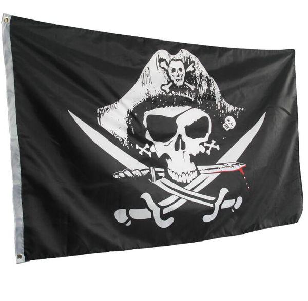 Top Gran pirata Bandiere teschio e ossa incrociate Jolly Roger Pirate Flags partito striscione pendente w / Occhiello 5x3FT pubblicitarie Bandiere