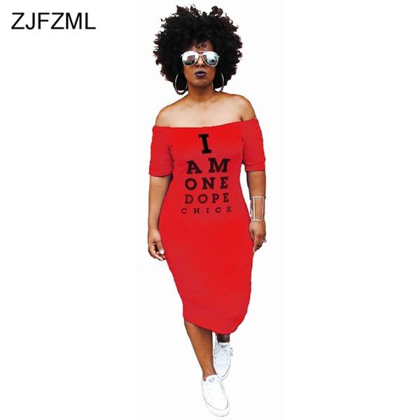 Zjfzml Plus Size Casual Bodycon Dress Women Cold Shoulder Letter Printed Package Hip Dress Autumn Slash Neck Short Sleeve Dress Q190402