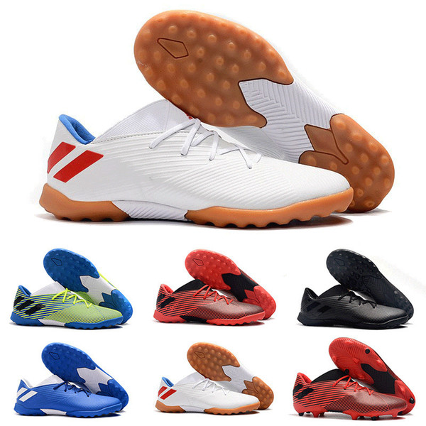 Fast Shipping 2019 New Arrival Men Original Nemeziz Messi Tango 19.3 Tf Fg Football Shoes High Quality Black White Sports Soccer Cleats