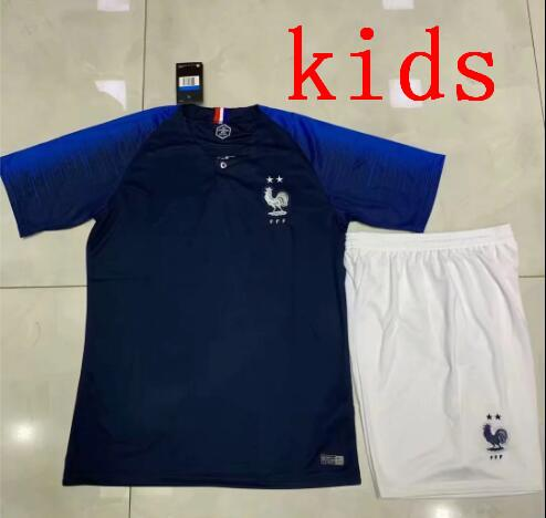 kids Foot enfant 2018 football football kids 2 stars two etoiles Equipe de uniform francés kits Jerseys + pantalón + calcetines