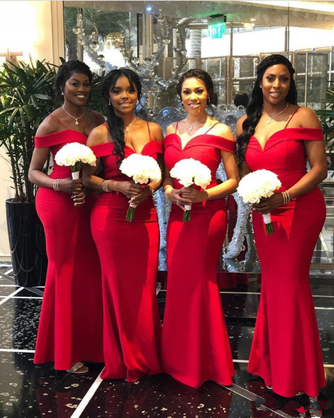 2019 Red African Mermaid Bridesmaid Dresses Off The Shoulder Spaghetti Sweetheart Satin Floor Length Custom Made Party Maid of Honor Gowns