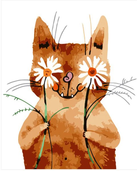 Kits Paint Oil Paint Peinture de bricolage à la main numéro peint à la main, tenant un chat 16