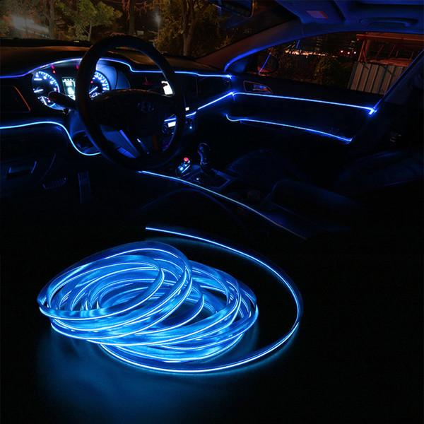 FORAUTO 5 Metre Araba Iç Aydınlatma Oto LED Şerit EL Tel Halat Oto Atmosfer Dekoratif Lamba Esnek Neon Işık DIY