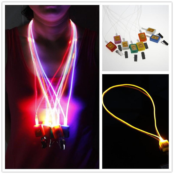New Arrival LED Lanyard LED Optical Fiber Luminous Lanyard Work Card Hanging Rope Light Smile Face LED Lanyard + Card Clip