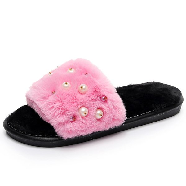 Ladies Casual Slipper Interior Non-Slip High Warm in Autumn and Winter Thick Bottom Solid Color Fluffy Soft Plush Slippers