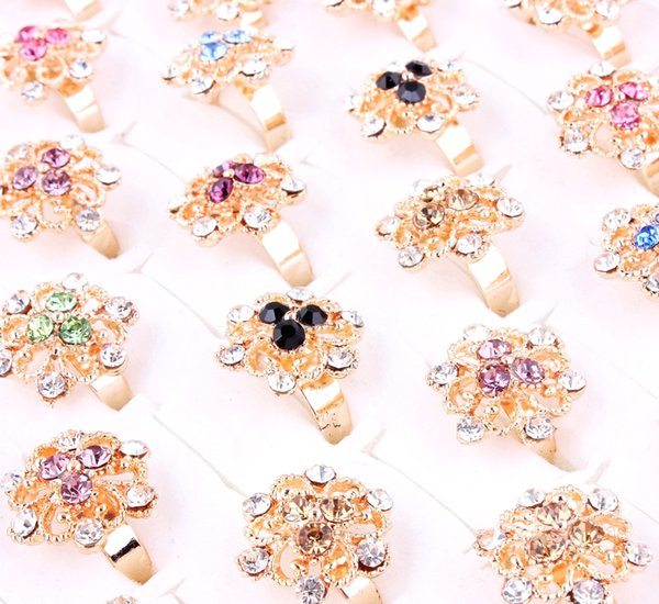 Top Quality Advanced Alloy Gold-Plated Rhinestone Ring New Mixed 50Pcs Man And Woman Charm Luster Rings 6-9