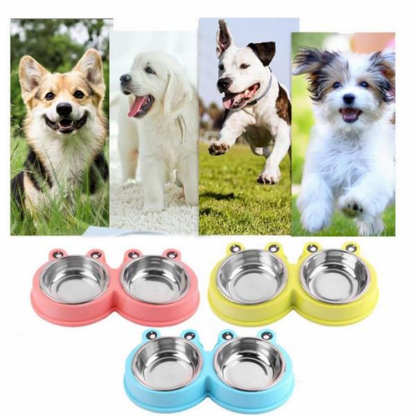 3 Renkler Paslanmaz Çelik Çift Pet Köpek Yavrusu Kediler için Çanaklar Gıda Su Besleyici Evcil Malzemeleri Besleme Yemekleri Köpekler Kase