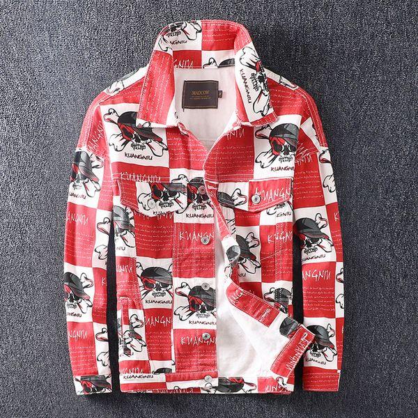 Mode Streetwear Männer Jacke Rot Farbe Schädel Gedruckt Designer Karierte Jeansjacke Hombre Chaqueta Unisex Hip Hop Jacke Männer Mantel