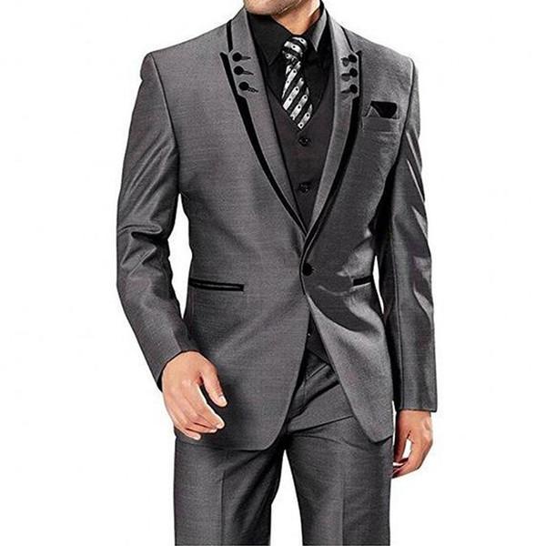 Grey Italian Business Mens Wedding Suits 3 Pieces Slim Fit Jacket+Pants+Vest Custom Groom Suits for Wedding Formal Suit