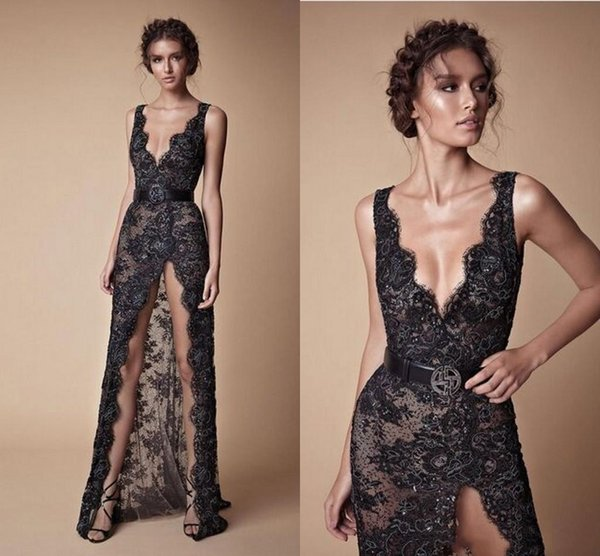Sexy Berta Lace Evening Dresses Full Length 2019 High Front Slit Straps Sequins Beads Black Prom Party Gowns Fashion Women Pageant Dress
