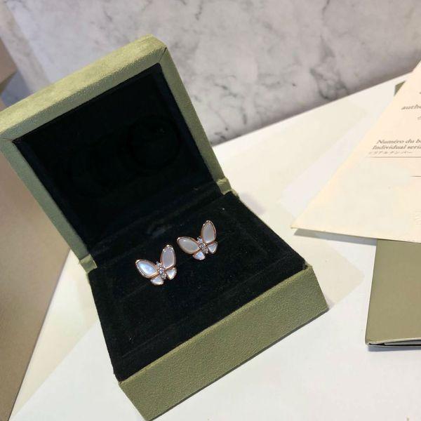 Brincos de Jóias de noivado Mulher s925 Sterling Silver Dois brincos de borboleta Designer de Alhambra Jóias Vintage Brincos 3 cores