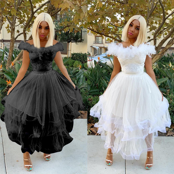 2019 Hot Sale Black White Feather Tulle A line Elegant Evening Dresses Slash Neck Cap Sleeves Ruffles Tiered Party Prom Dress In Stock