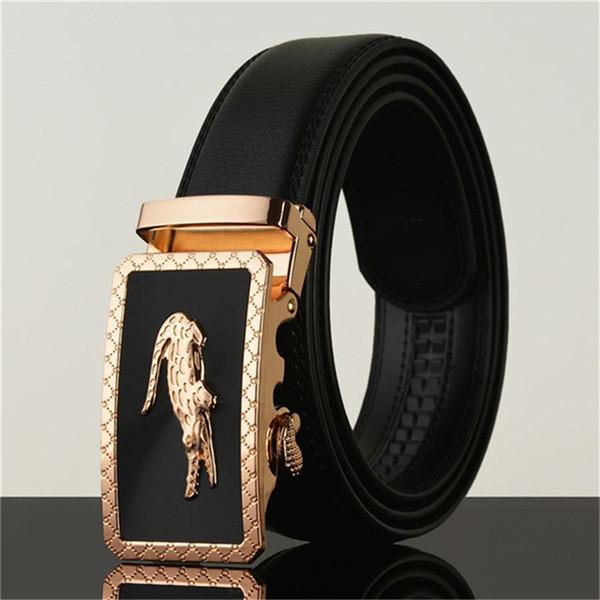 Fashion Business Belts Men Automatic Buckle Luxury Jeans Waistbands Designer Crocodile Buckle Waist Belt High Quality Cowhide Leather Belts