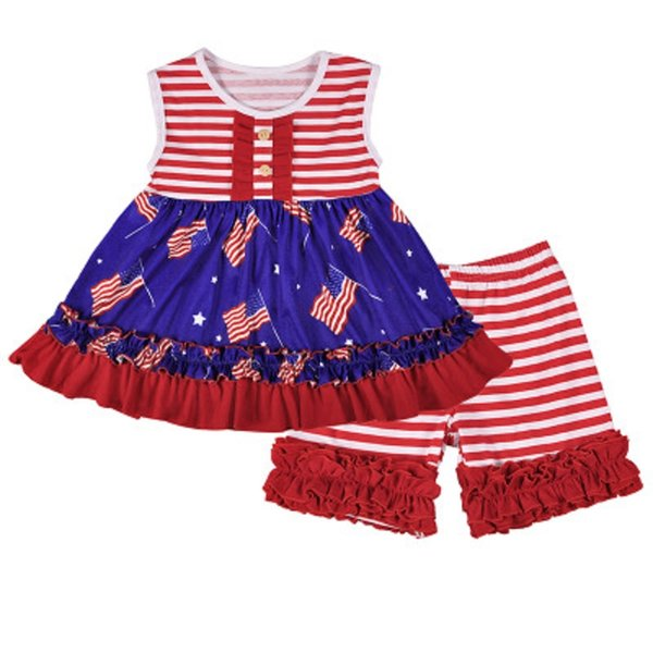 Girl Striped Splice Set Kids Stars Printing Short Skirt Shorts Set American Flag Independence National Day USA 4th July Sleeveless