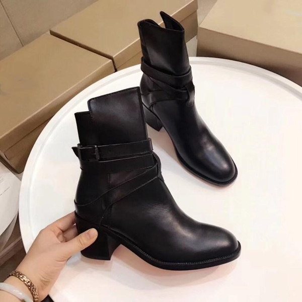 Women Red Bottom Sole Black Leather High Heel Boots , 6.5 cm Heels Lady Boot Booties with Buckle Size 35-40