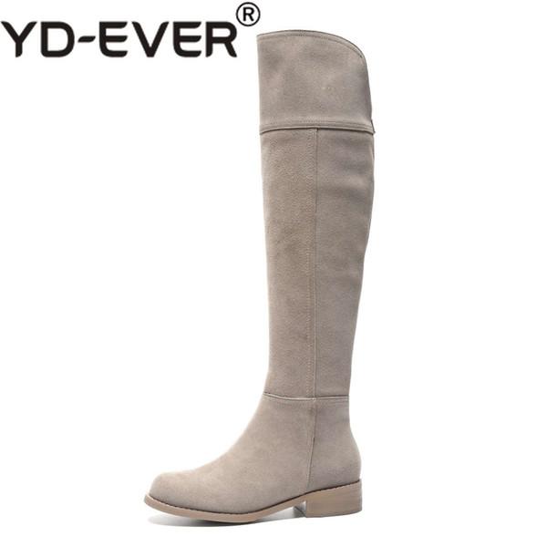 Высокая уличная мода твердый молнии из натуральной кожи бедра высокие сапоги круглый носок низкие каблуки рим элегантный женский более-колена сапоги L51