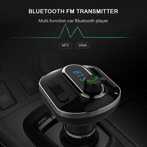 T19 Bluetooth Transmetteur FM Adaptateur sans fil pour émetteur de radio dans la voiture Chargeur de voiture universel avec deux ports de charge USB