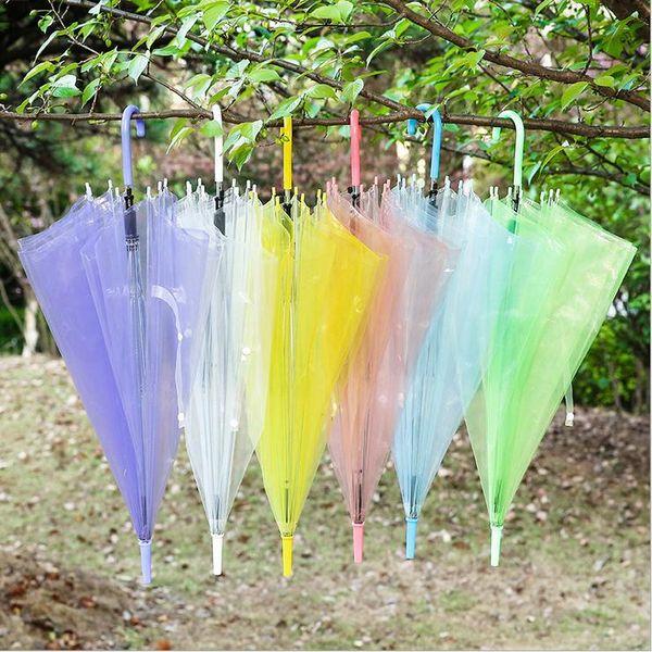 Clear Transparent Rain Umbrella PVC Rain Dome Bubble Rain Sun Shade Long Handle Straight Stick Umbrella