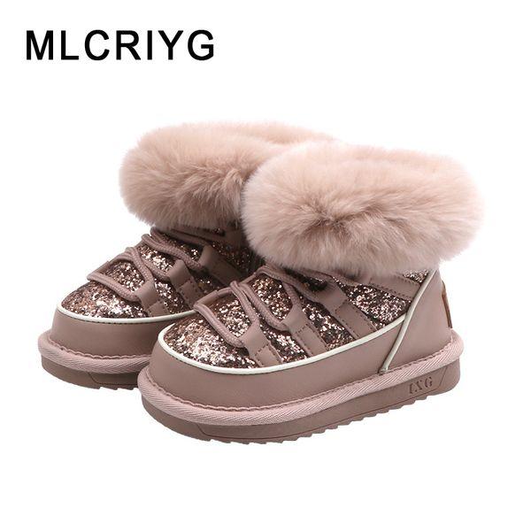 Kış Ayakkabı On Kız bebekler Kürk Kar Boots Çocuk Prenses Bilek Boots Çocuk Glitter Sıcak Ayakkabı Bebek Marka Payet Kayma