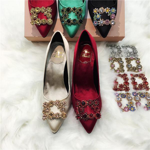 Neue Top-Marke hochhackige schlanke Schuhe mit hohen Absätzen Button Champagne Single Schuhe Green Bride's Wedding Garment Shoes