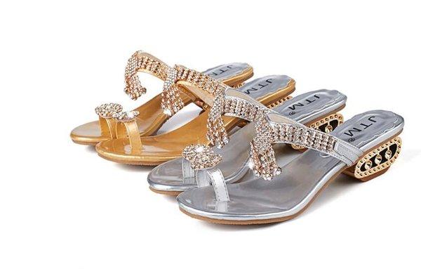 Venta caliente libre del envío 2018 mujeres sandalias zapatillas de verano partido Chunky tacones altos mujer Rhinestone oro plata damas zapatos dh2n28