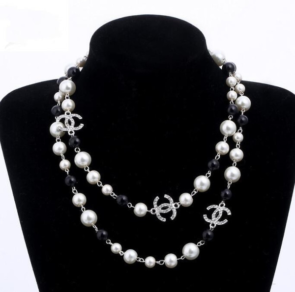 2019 Free Hot style 2 layers necklace pearls sweaters necklaces designer free lady Perfume number 5 women neckless long necklace collares