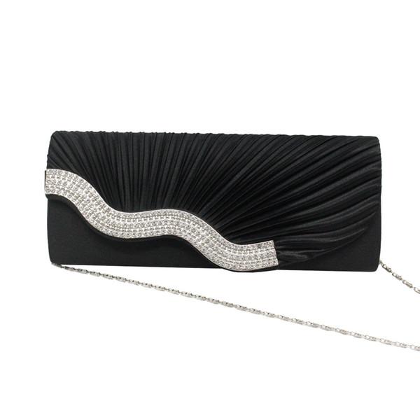 2019 satin cloth evening bag ladies rhinestone bag clutch folds handbag