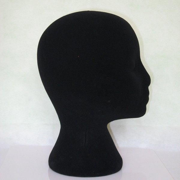 NEW 1PCS Female Styrofoam Foam Flocking Head Model Wig Glasses Display Styling wig Stand Black Beauty hair care tool free ship