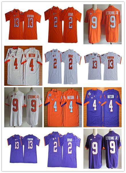 Camisa de Clemson Tigers 4 Deshaun Watson 2 Camisas de Kelly Bryant 9 Travis Etienne Jr. 13 Hunter Renfrow Purple White costuradas