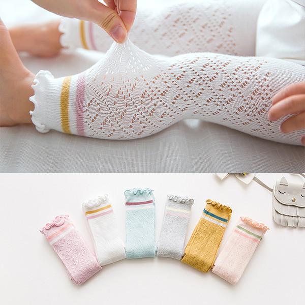 Verão Bebê Leggings Baby Girl Kid Algodão Legging Meia-calça Rosa Branca para Crianças Menina Malha Leggings para 0-4 Anos de Idade