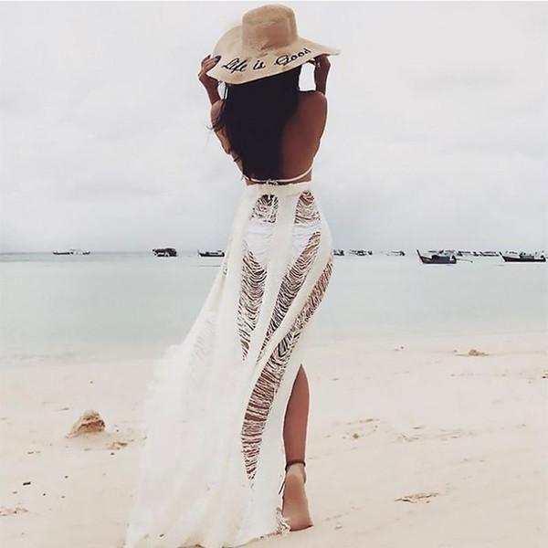Bikini Plage Cover-Ups Sexy Femmes Creuses Vêtements De Plage De Style Bohémien Tricoté Protection Du Soleil Vêtements Blouse pour Beach Party