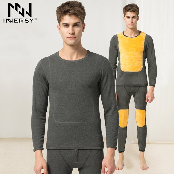 Innersy Underwear Winter Mens Warm Thermal Underwear Add wool Long Johns Thermal Underwear Sets Thick Plus Velvet Long Johns Set SH190927