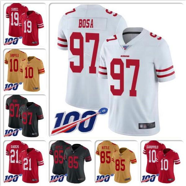 Para hombre # 97 Nick Bosa Jersey Deion Sanders Joe Montana Steve Young Richard Sherman Ronnie Lott camisetas de fútbol NFL100TH encargo barato al por mayor