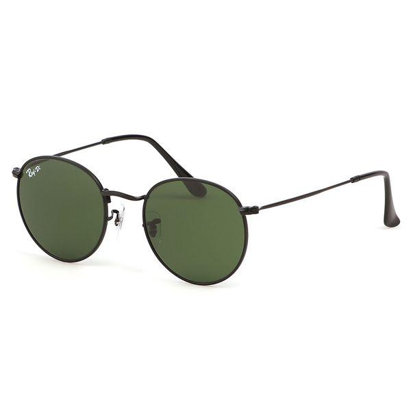 Yuvarlak Metal Vintage Güneş Gözlüğü 3447 Marka Tasarımcı Güneş Gözlüğü Erkek Kadın Yüksek Kaliteli Sunglass UV400 Cam Lensler ile Orijinal Deri kutu