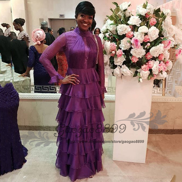 Elegant purple lace long sleeve mother of the bride dress high Collar tiered cake skirt floor length formal evening prom gowns plus size
