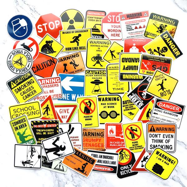 50 PCS Signs Stickers Danger Warning Banning Reminder Decor Sticker to DIY Car Laptop Motorcycle Suitcase Fridge Guitar Notebook