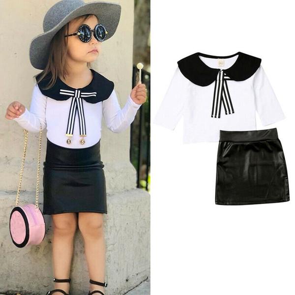 1-6Y Мода малышей Детские ребёнки Одежда наборы лук длинным рукавом Tie Tops + Leather Hip Юбки Комплекты Set