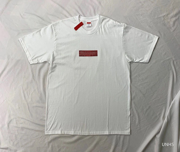UNHS top 2019ss Swarovski Box Logo Tee 25TH artificial diamond Box Logo TEE limited-editi T-Shirt men and women free shipping 3 colors D96