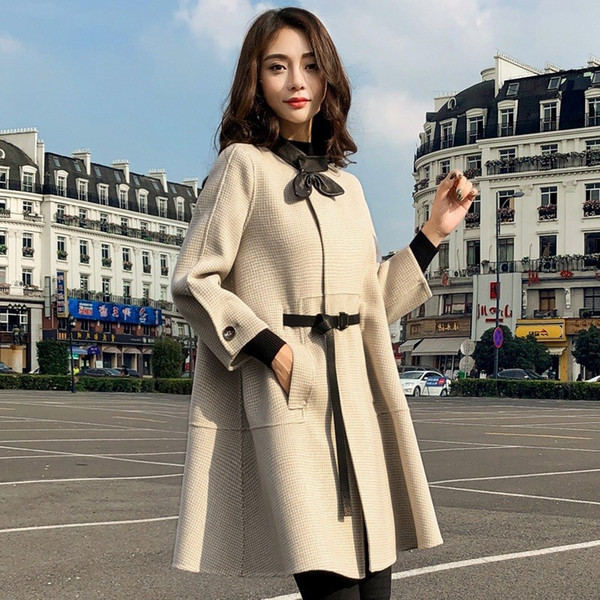 2018 Inverno Donna Mantello di lana Cappotti Giacche invernali lunghe Fusciacche Capispalla lana Plaid Mantella